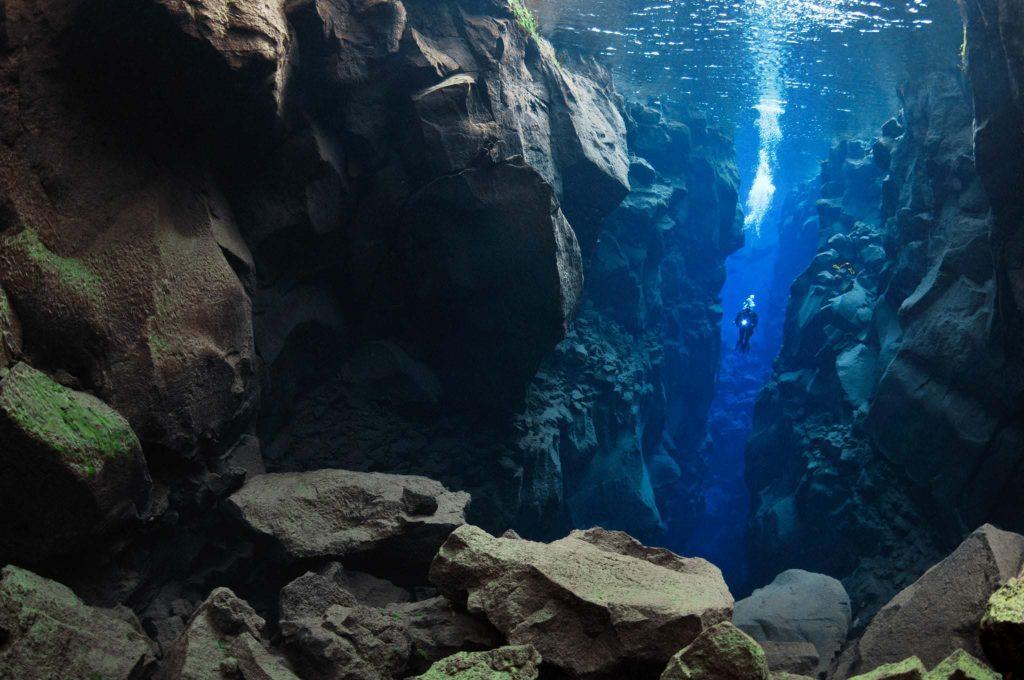 underwater in Silfra, Thingvellir lake, Iceland