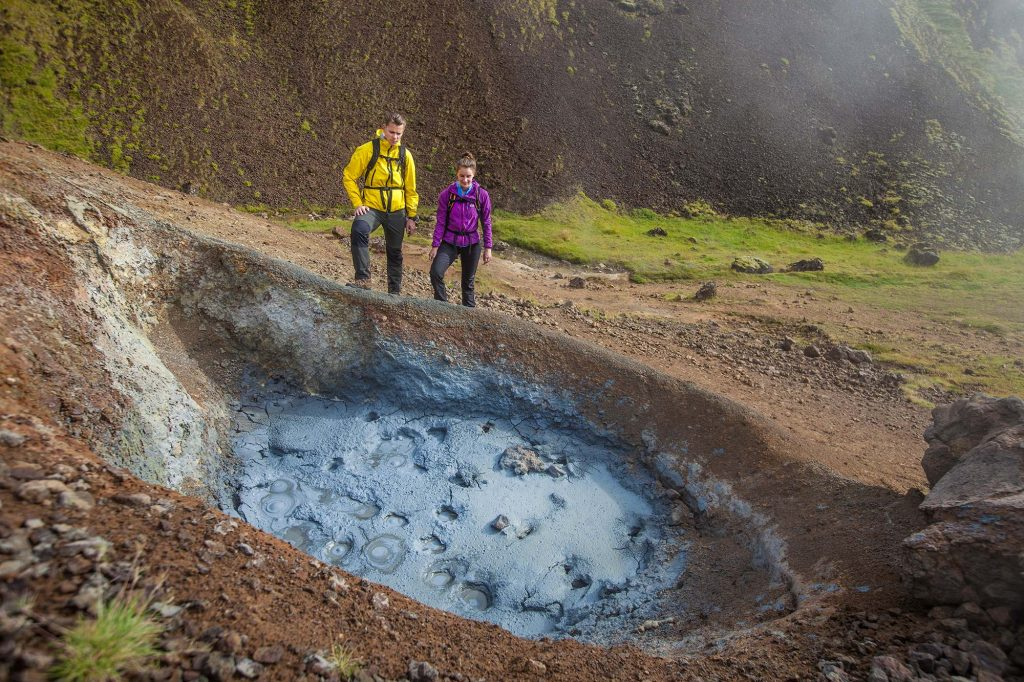 Hot springs and lava cave exploring in Iceland