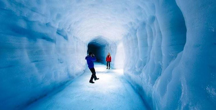 Into The Glacier Ice Tunnel In Iceland