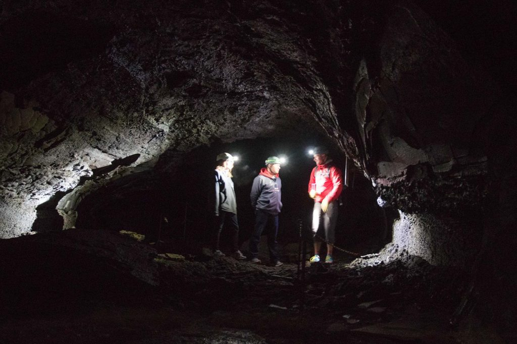 Lava cave exploring in Iceland