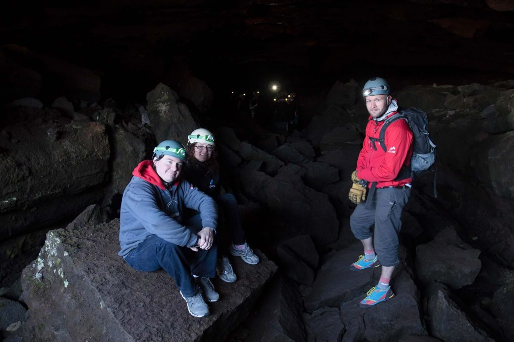 Lava tube caving in Iceland