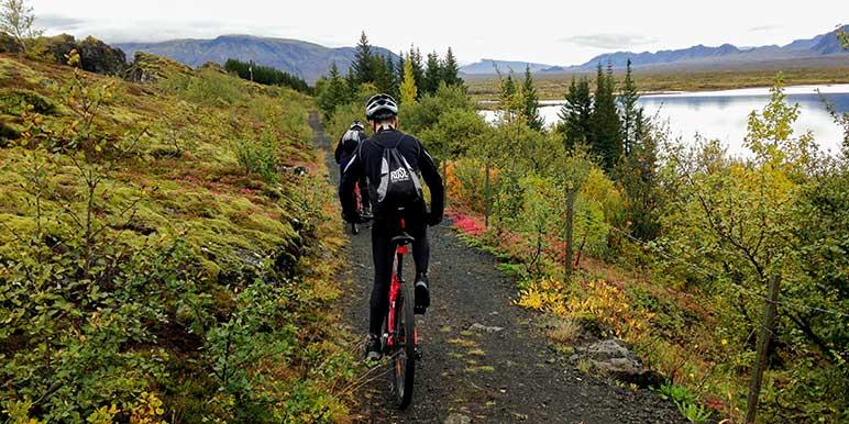 Biking At Thingvellir In Iceland