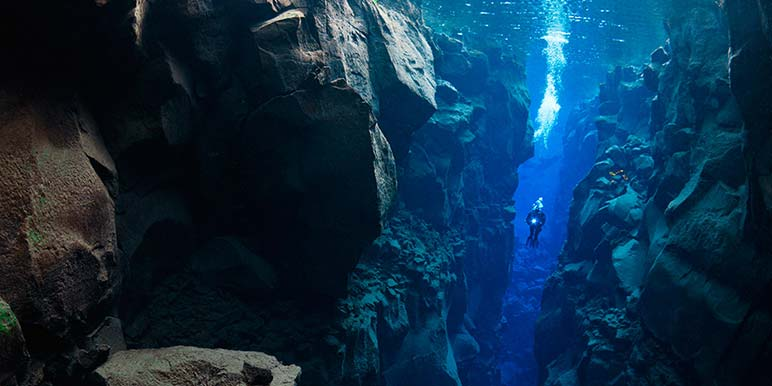 Diving in Silfra Fissure at Thingvellir