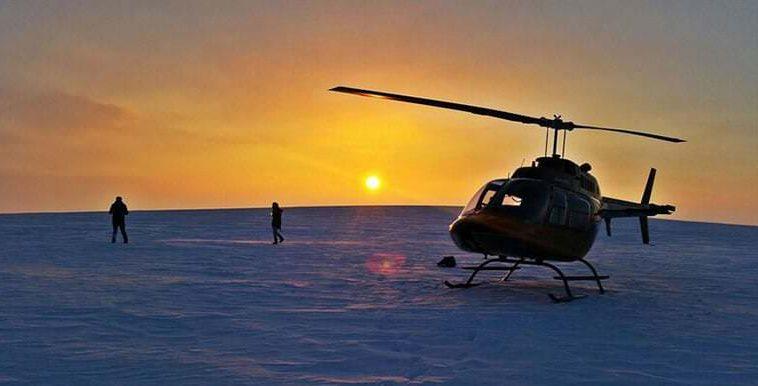 Helicopter on Glacier