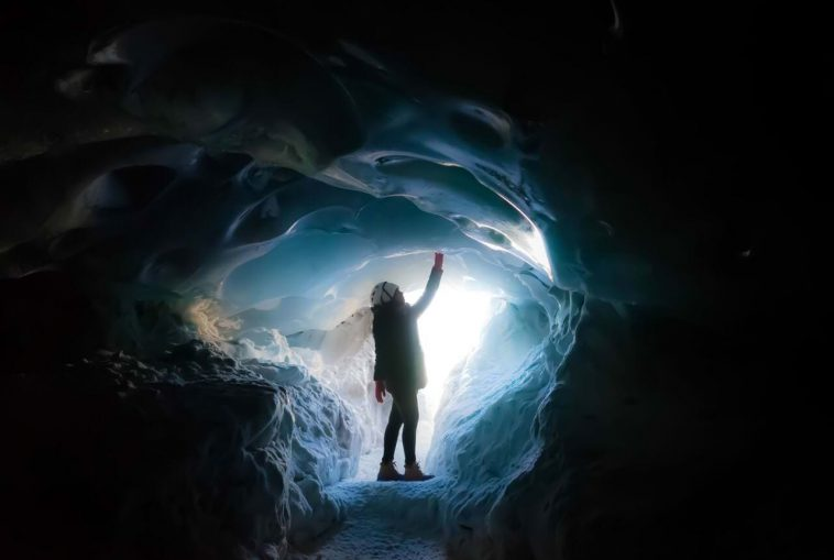 Ice caving in south iceland