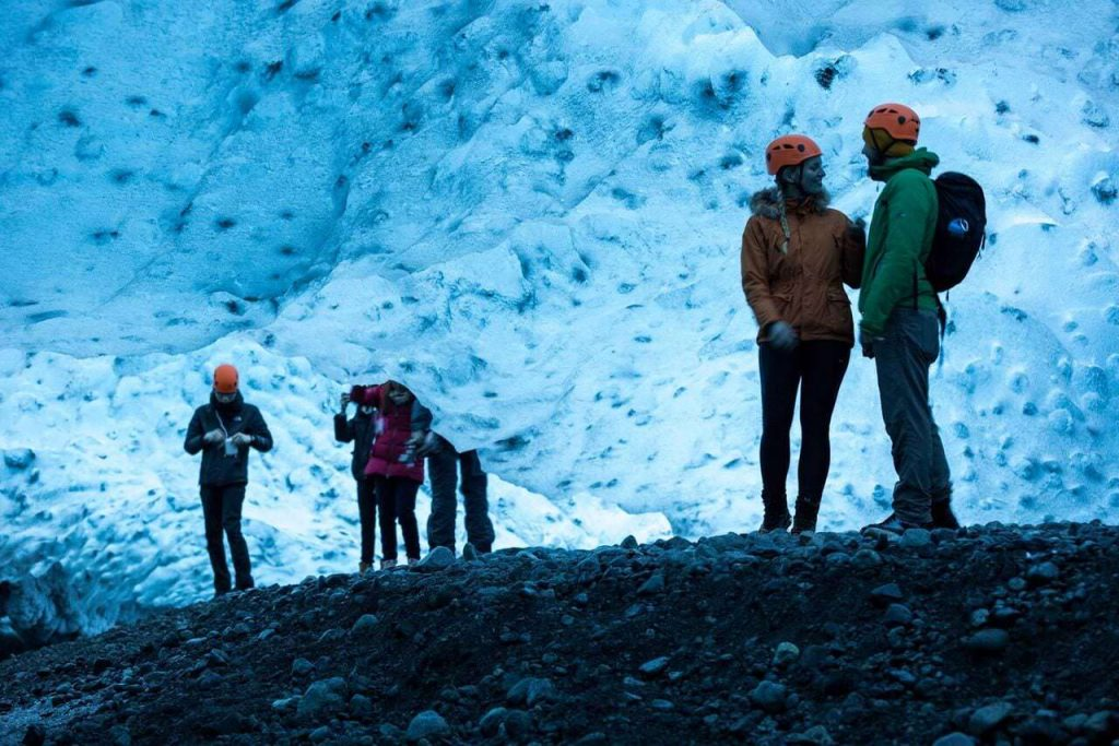 Ice caving in southeast Iceland