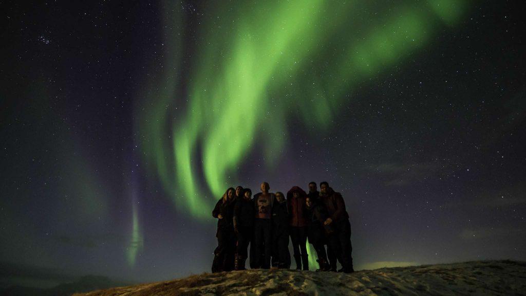 Reykjavik nightlife and northern lights