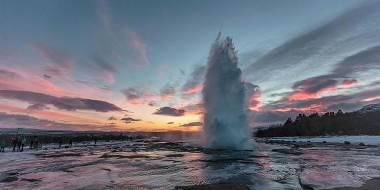 Geyser erupting in Iceland