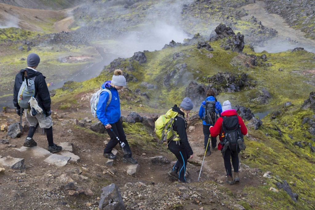Hiking in iceland highlands on the Laugavegur Hiking Trail