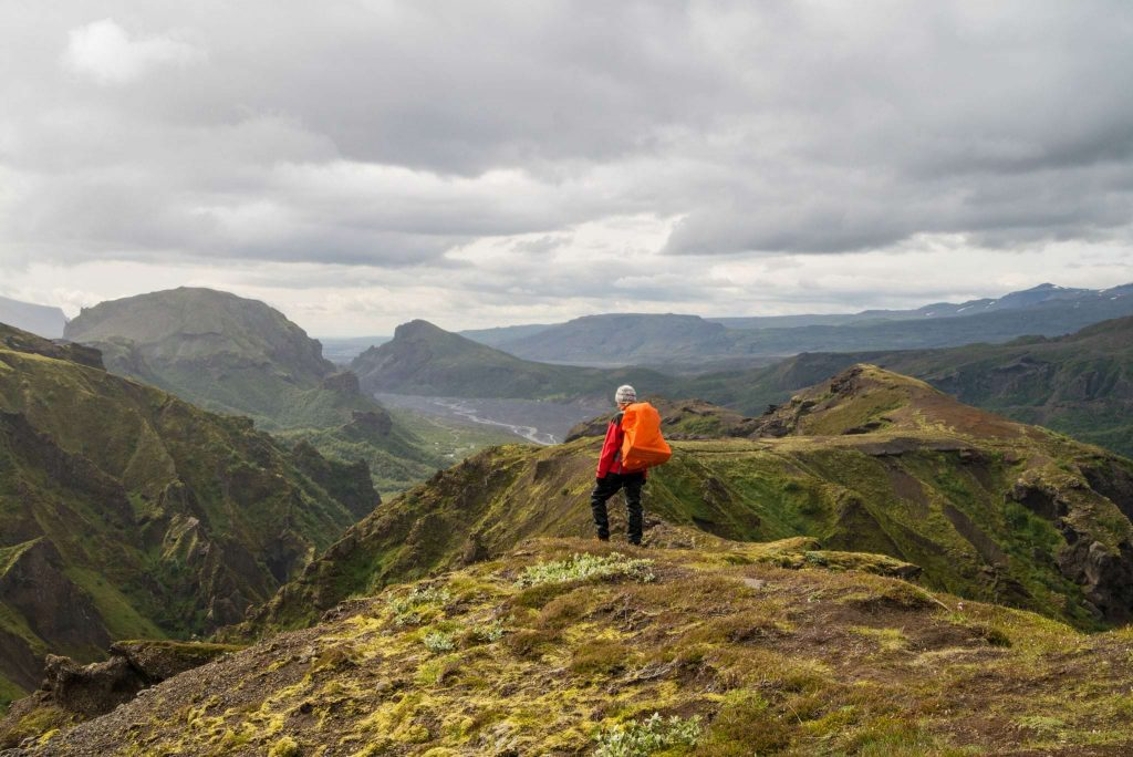 Hiking in the highlands of South Iceland