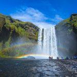Waterfall Skogarfoss in South coast of Iceland