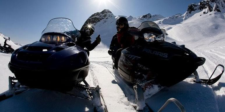 Snowmobiling With Pick Up At Gullfoss