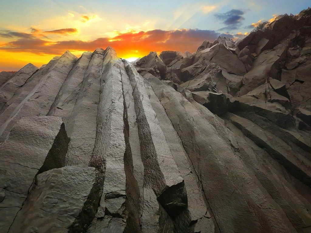 Basalt rock on black sand beach Reynisfjara in Iceland