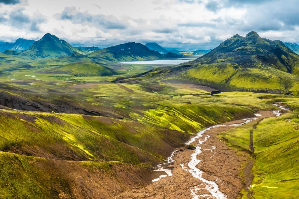 Laugavegur hiking trail in the Highlands of South Iceland