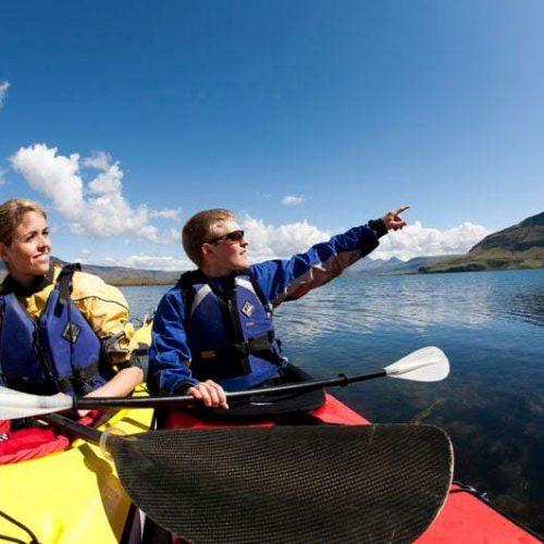 Kayaking in Icelandic fjords